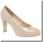 Gabor sand patent high heel platform court shoe
