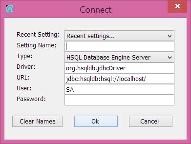 Conexión a un servidor HSQLDB