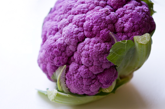 ... purple head of cauliflower at Whole Foods. Yes, purple cauliflower