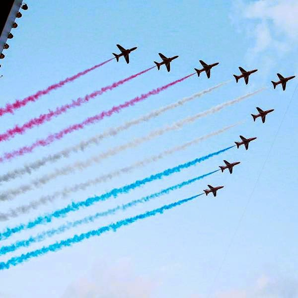 Jets fly over the opening ceremony for the 2014 Commonwealth Games at Celtic Park in Glasgow, Scotland, July 23, 2014.