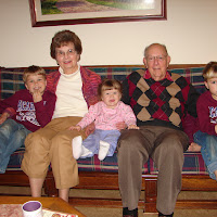 The kids with their great grandparents (Jon's grandparents) at Thanksgiving!