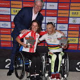 OIC - ENTSIMAGES.COM - Hand Cyclist Elite Winners Mrs Renata Kaluza and Mr Rafal Wilk at the Prudential RideLondon Grand Prix 2016    in London  29th July 2016 Photo Mobis Photos/OIC 0203 174 1069