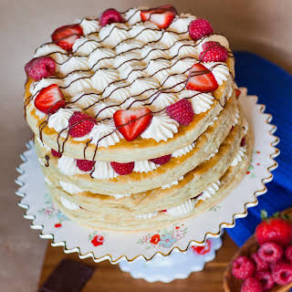 Berries and Cream Mille-Feuille Cake.