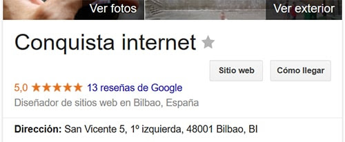 Reseñas Google My Business Conquista interne