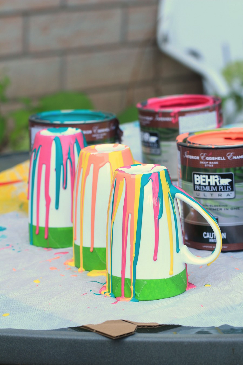 paint drip coffee mug