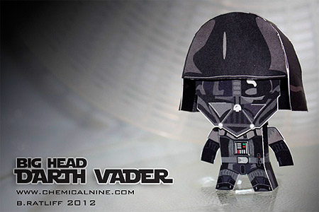 Big Head Darth Vader Paper Toy