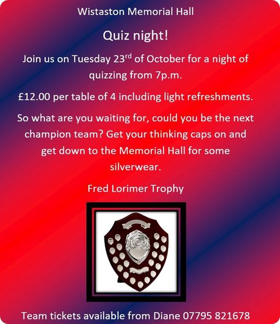 Wistaston Memorial Hall - Quiz  night - Tues 28-10-18