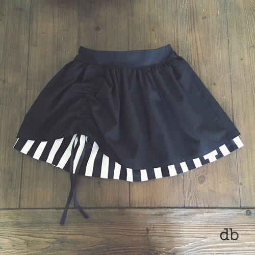 Mod Black and White Double Layer Twirl Skirt Steampunk Style for Babies and Girls by Daydream Believers Designs