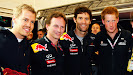 Red Bull drivers and Horner with Prince Henry of UK