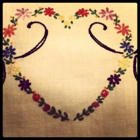 vintage needlework heart