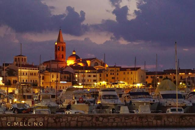 Panorama, Alghero, sunset, port, barche, puesta del sol