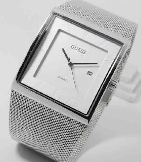 jam tangan Guess pasir date full silver