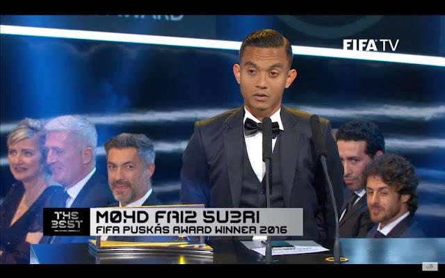 Sukacita dimaklumkan bahawa Faiz Subri telah diumumkan sebagai pemenang anugerah Puskas Award 2016.