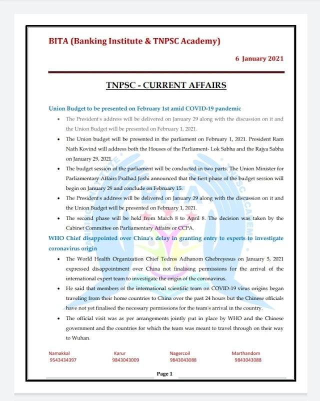 TNPSC Exam - Today Current  Affairs By BITA Academy ( 06January  2021 )