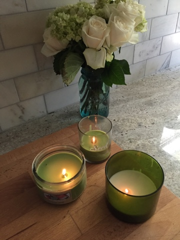 Roses, Mason Jars, Green Candles
