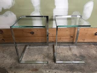 Chrome & Glass Side Table Pair
