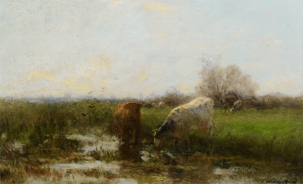 Willem Maris - Cattle by a stream