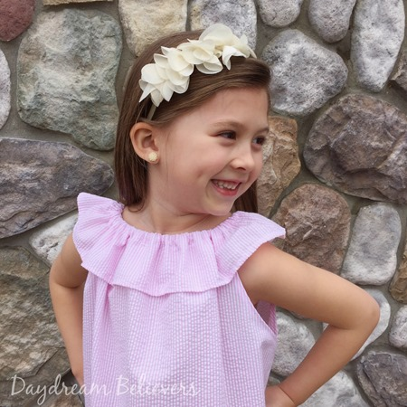 Girls Seersucker Pink and White Classic Ruffle Neck sundress by Daydream Believers Designs 2