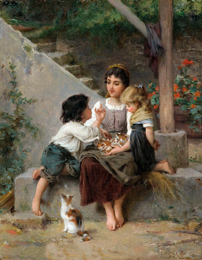 Émile Munier - Playing with the Kittens, 1895