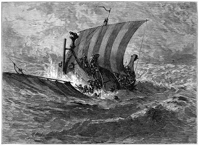 A viking longship in a storm, people are hanging off it in the sea