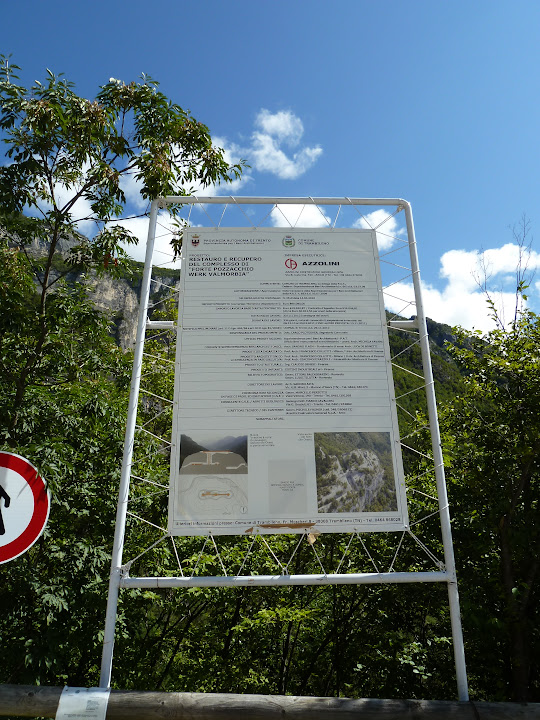 The message board telling about the restoration of Fort Valmorbia,Italy