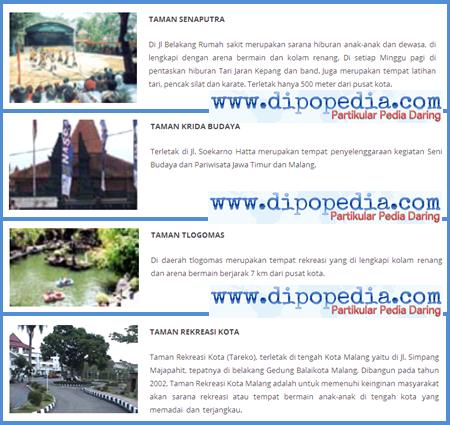 Taman Terindah Di Kota Malang - Dipopedia