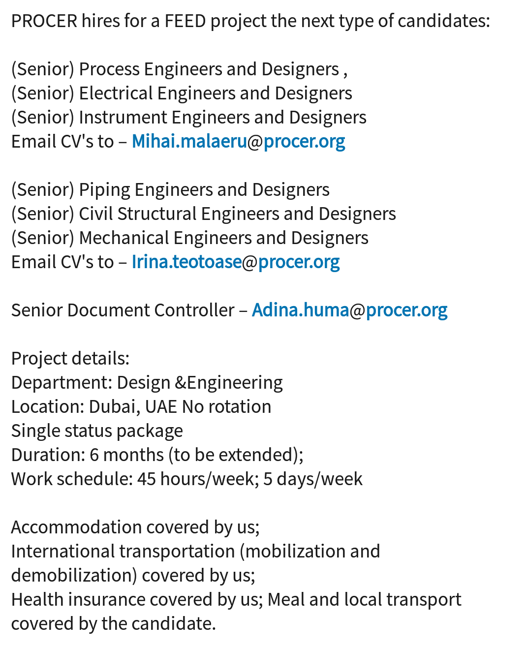 Oil And Gas Jobs Electrical Mechanical Instrument Process Civil Piping Engineers And Designers Required By Procer For Their Next Project