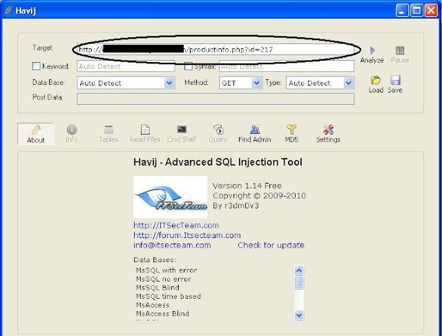 Havij SQL Injection Tool