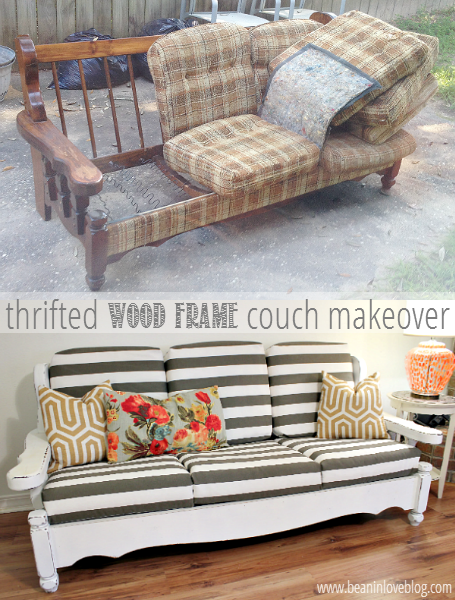 thrifted wood frame couch makeover