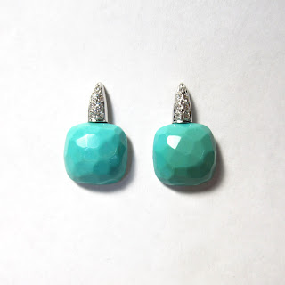 18K White Gold, Diamond, and Turquoise Earrings