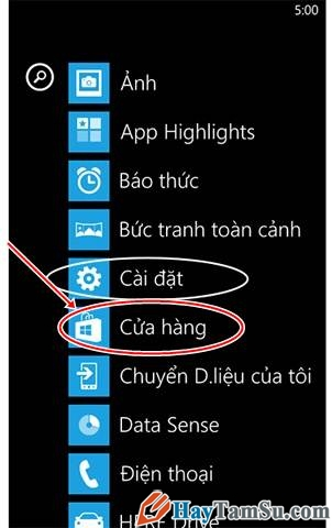 Cài đặt ứng dụng Windows Phone