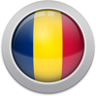 Chadian flag icon with a silver frame