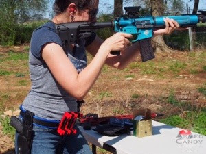 gabby of ArmedCandy practicing 3 gun and learning how to run and gun