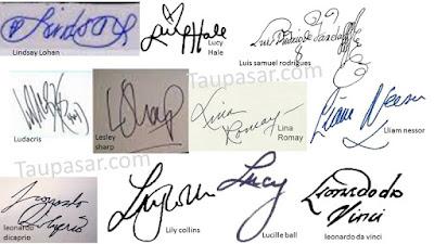 tanda tangan huruf L