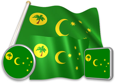 Cocos Island  flag animated gif collection