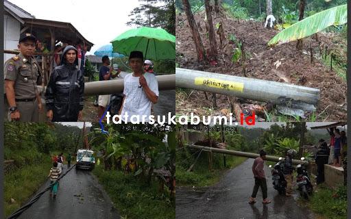 Pohon Tumbang Robohkan 2 Tiang Listrik di Sukabumi
