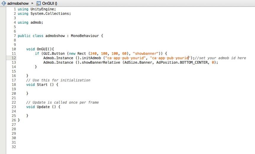 admob unity3d code