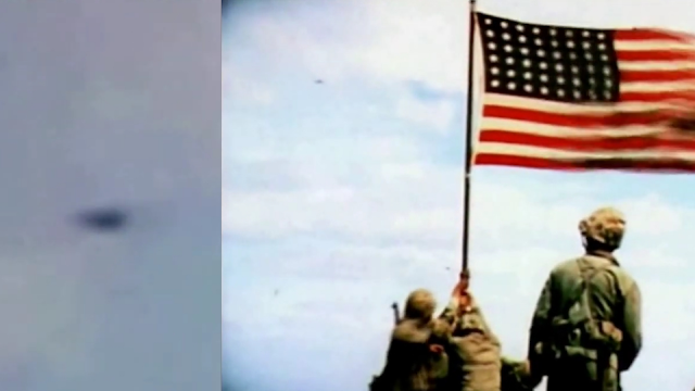 UFO in the Iwo-Jima flag raising ceremony video.