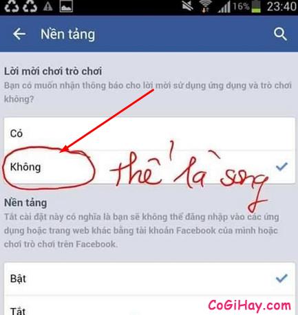 Chọn Không tại lời mời chơi game trên Facebook