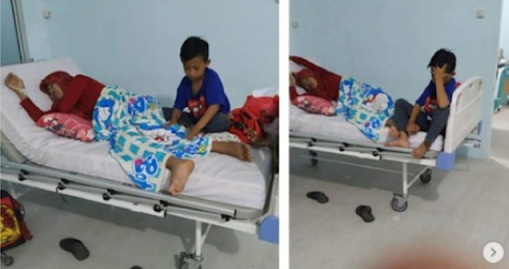 Ayah Meninggal , Bocah 9 Tahun Ini Antar Ibunya yang Sakit Ginjal Stadium Akhir ke Rumah Sakit Sendirian.