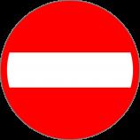 B-2  zakaz wjazdu  Znak zakazuje wjazdu na drogę lub jezdnię od strony jego umieszczenia pojazdów, kolumn pieszych oraz jeźdźców i poganiaczy.