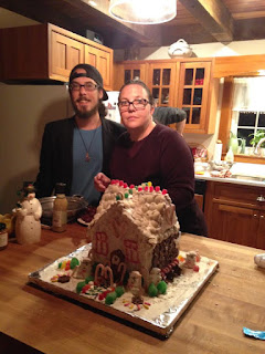 Sharon and Justin starting the gingerbread house