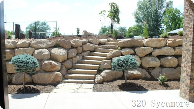 outdoor rock wall and stairs