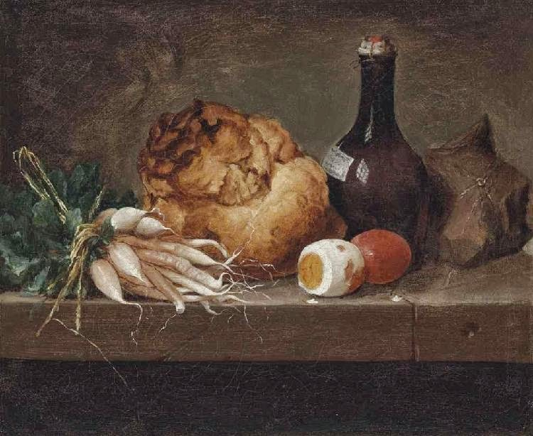 Anne Vallayer-Coster - Parsnips, a loaf of bread, eggs and a bottle on a stone ledge, 1774