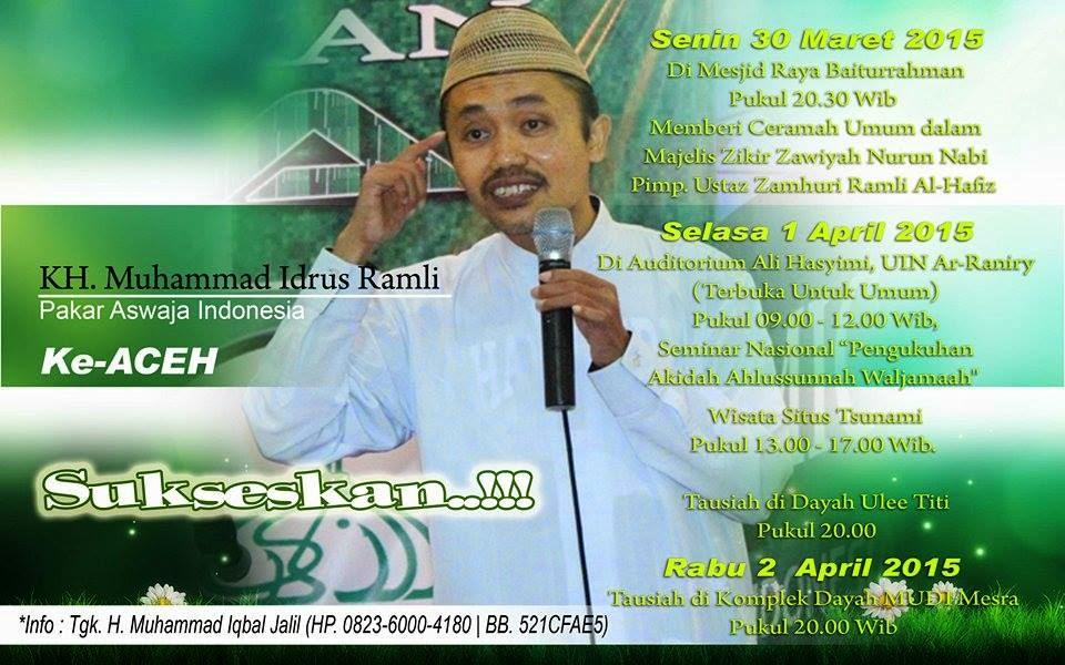 KH Idrus Ramli Akan Mengisi Seminar Pengukuhan Ahlussunnah wal Jama'ah di Aceh