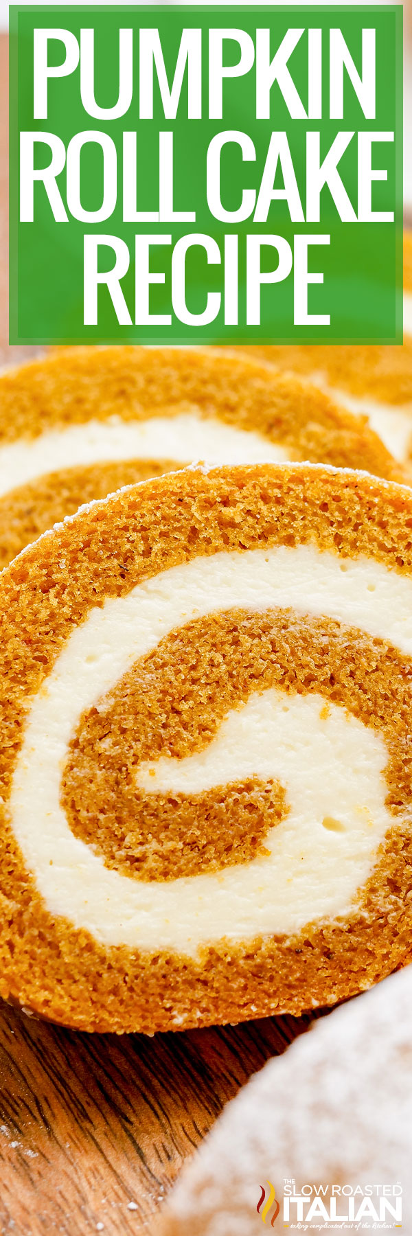 pumpkin roll cake closeup