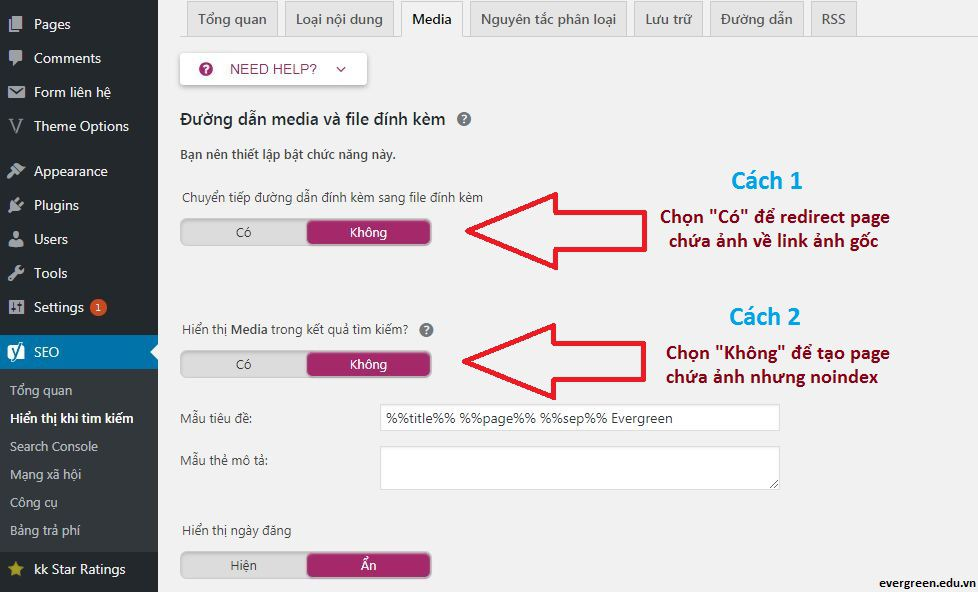 Chặn Google index Media do Yoast SEO