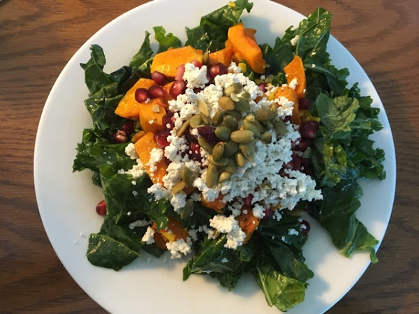 Delicious and full of yummy nutrition (kale and butternut salad with goat cheese and pomegranates)