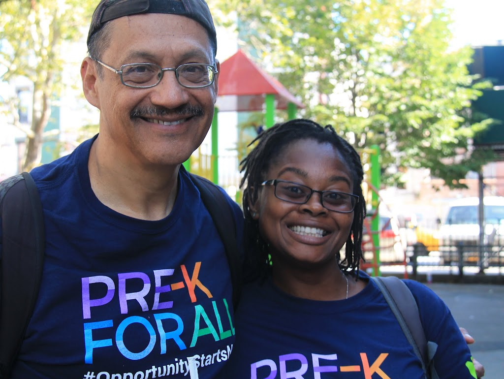 Andres and Yolanda from Pre-K for All join us on today's walk!
