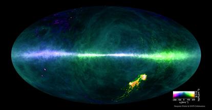distribuição do hidrogênio no céu